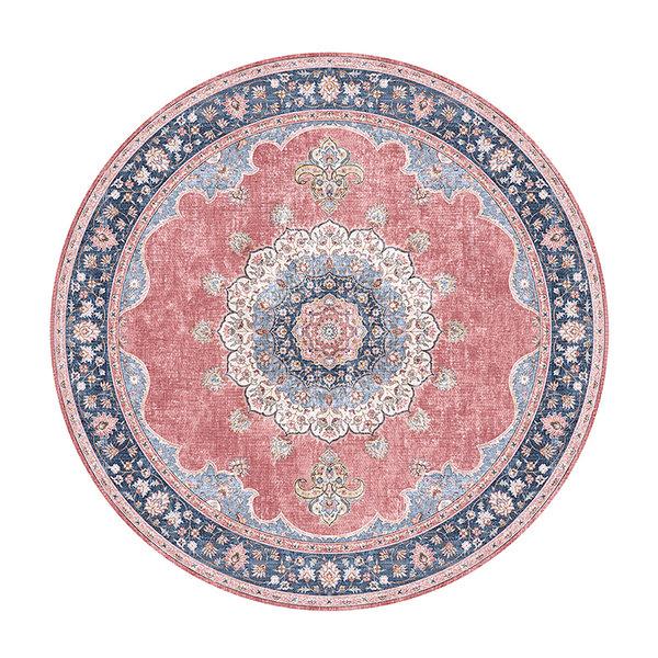 FRAAI Rond vintage vloerkleed - Lily Medaillon Rood Roze