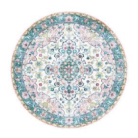 FRAAI Rond vintage vloerkleed - Lily Oriental Blauw Roze