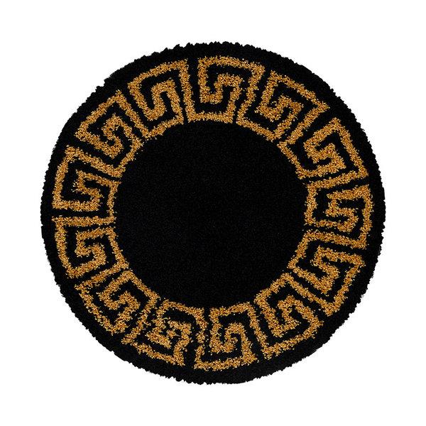 Rond modern vloerkleed - Greece Zwart Goud