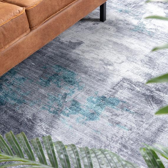FRAAI Modern vloerkleed - Strong Grijs Turquoise