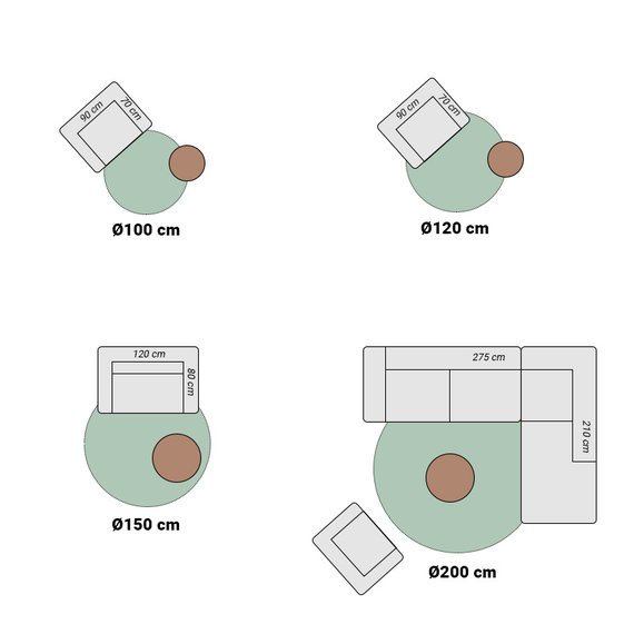FRAAI Rond wasbaar viscose vloerkleed - Vive Grijs