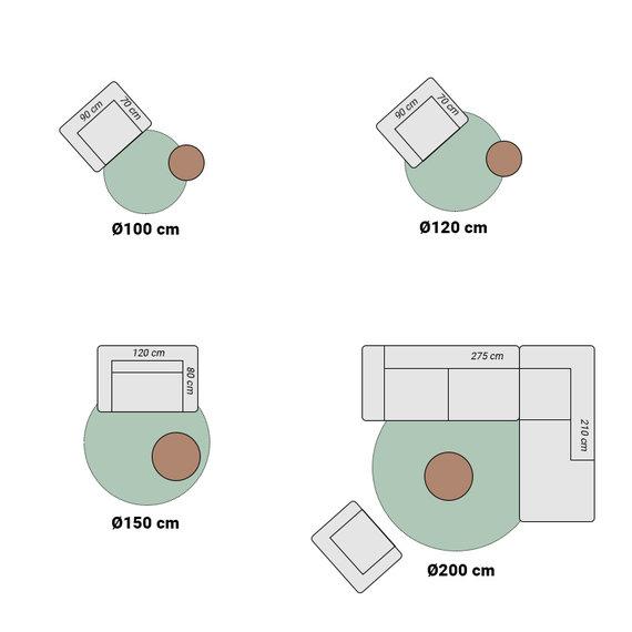 FRAAI Rond wasbaar viscose vloerkleed - Vive Taupe