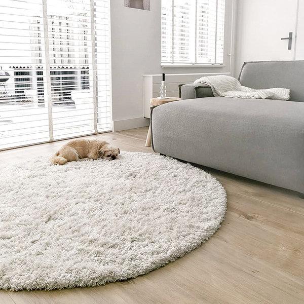 Rond hoogpolig vloerkleed - Fuzzy Wit