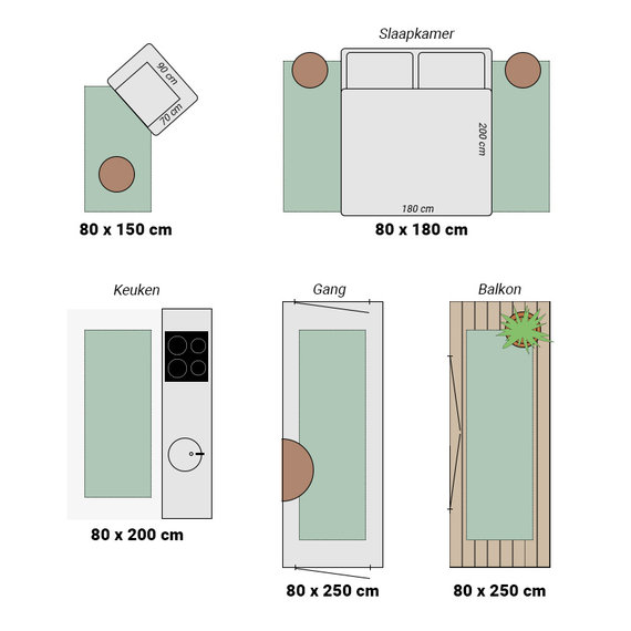 Bougari Balkonkleed - Twin Barok Groen/Creme
