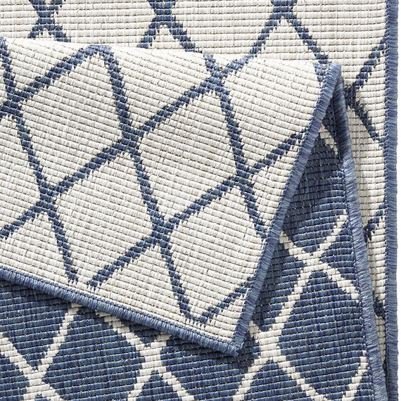 Bougari Balkonkleed - Twin Lines Blauw/Creme