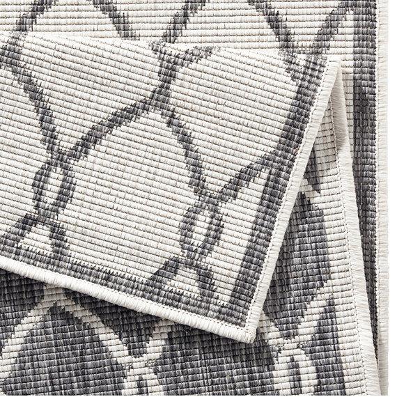 Bougari Balkonkleed - Twin Circle Grijs/Creme