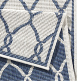 Bougari Balkonkleed - Twin Circle Blauw/Creme