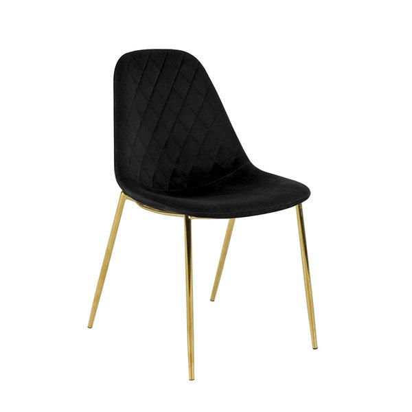 Velvet stoel - Tara Zwart - Goud frame
