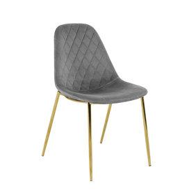Kick Collection Velvet stoel - Tara Grijs - Goud frame