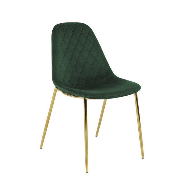Velvet stoel - Tara Donkergroen - Goud frame