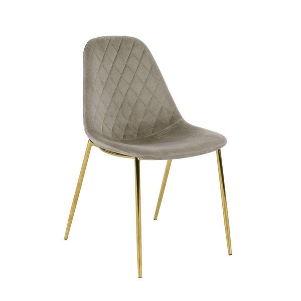 Velvet stoel - Tara Champagne - Goud frame