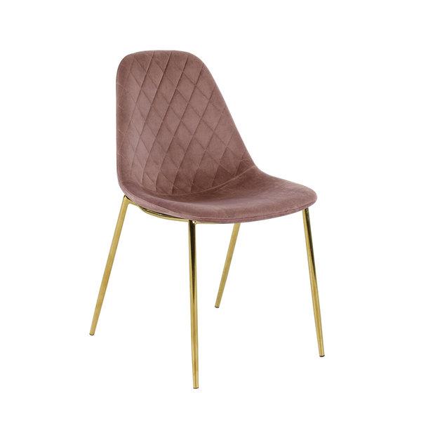 Velvet stoel - Tara Roze - Goud frame