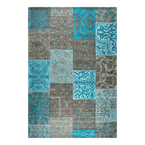 Patchwork vloerkleed - Delany Grijs Aqua Mint
