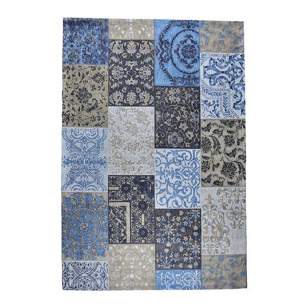Patchwork vloerkleed - Delany Grijs Blauw