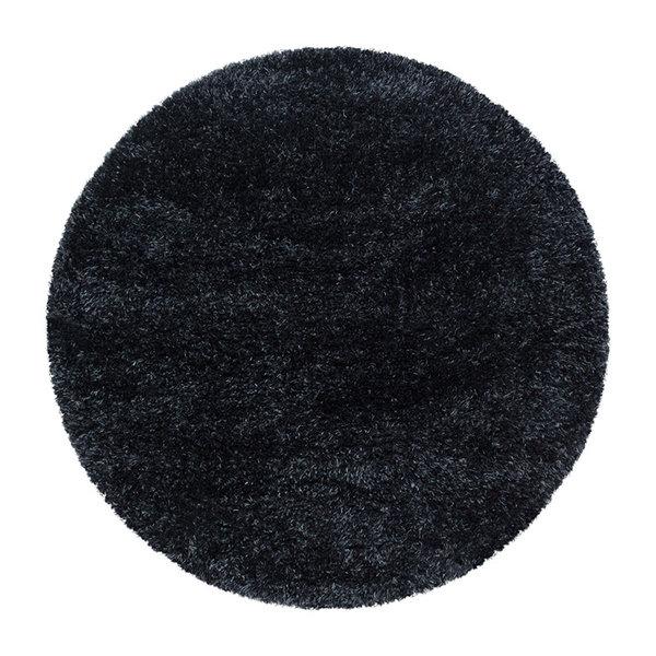 Rond Hoogpolig vloerkleed - Blushy Zwart