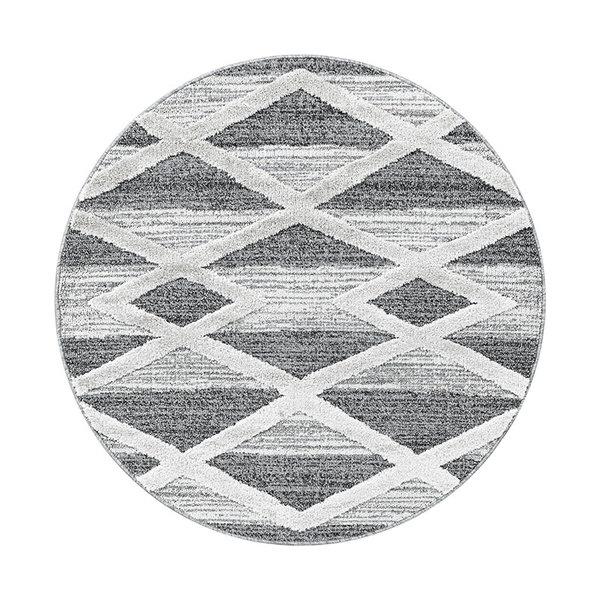Rond scandinavisch vloerkleed - Pitea Lines Grijs/Creme
