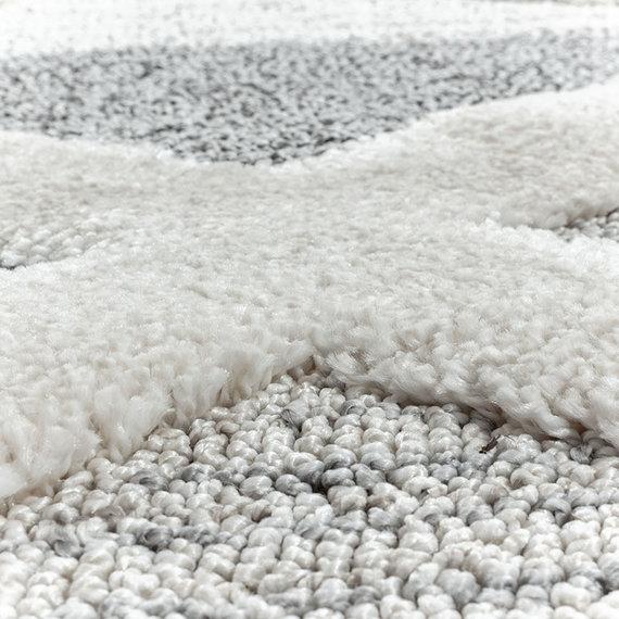 Adana Carpets Rond scandinavisch vloerkleed - Pitea Lines Grijs/Creme