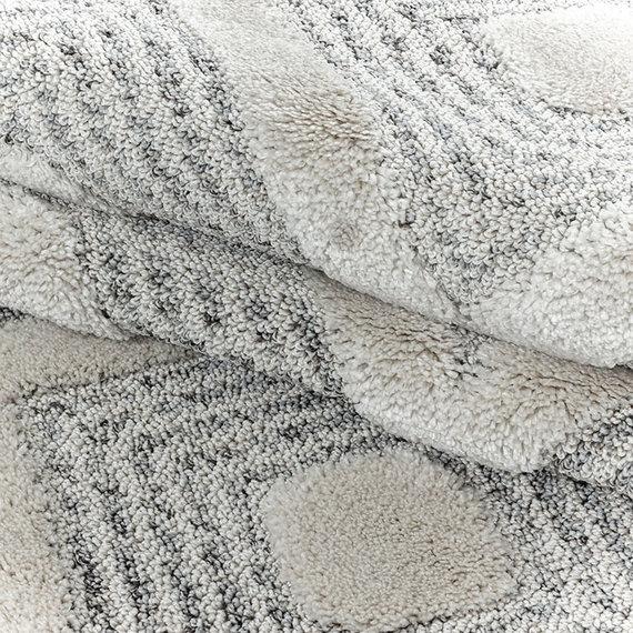 Adana Carpets Rond scandinavisch vloerkleed - Pitea Ethno Creme/Grijs