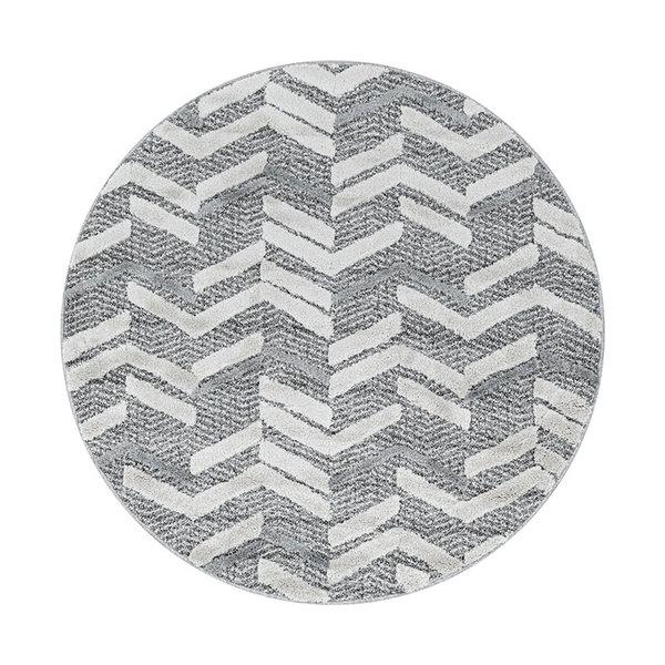 Rond scandinavisch vloerkleed - Pitea Panel Grijs/Creme