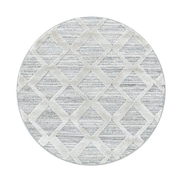 Rond scandinavisch vloerkleed - Pitea Diamond Grijs