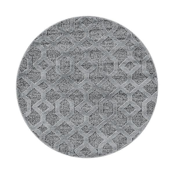 Rond scandinavisch vloerkleed - Pitea Tile Grijs