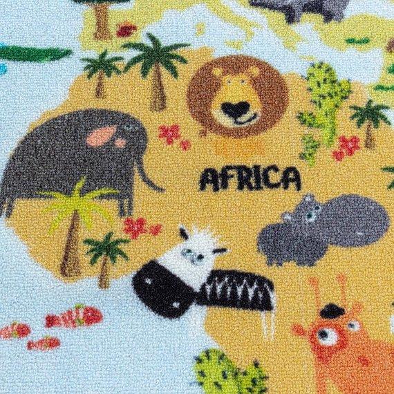 Adana Carpets Kindervloerkleed - Pleun Wereldkaart Blauw