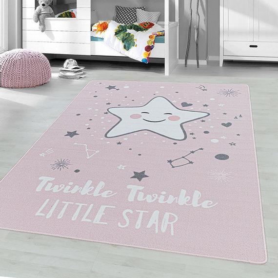 Adana Carpets Kindervloerkleed - Pleun Ster Roze
