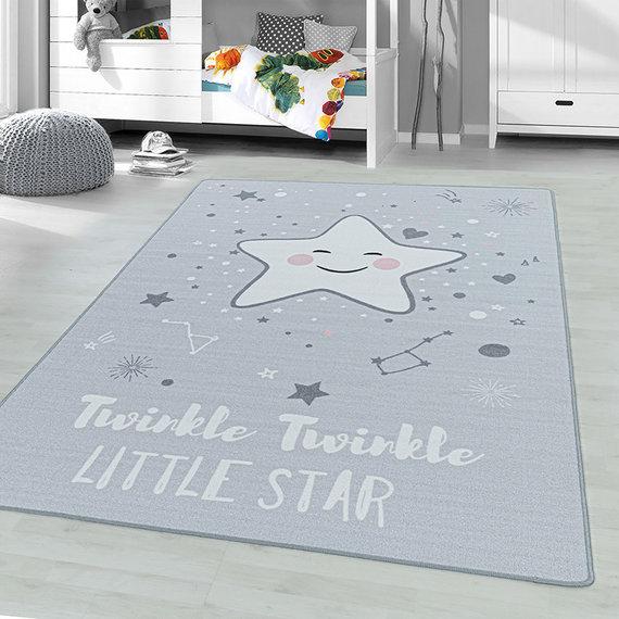 Adana Carpets Kindervloerkleed - Pleun Ster Grijs