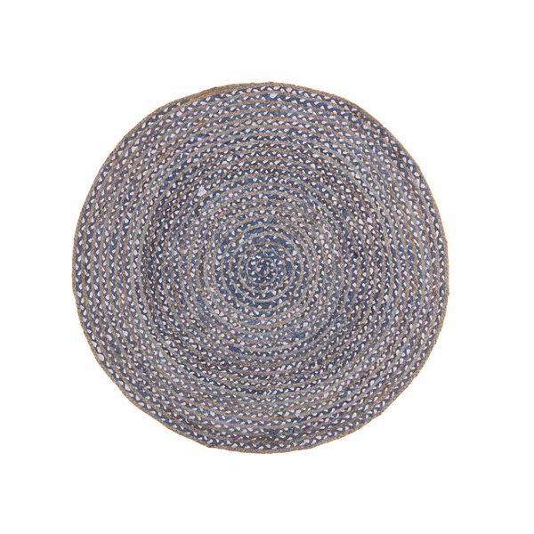 Rond vloerkleed Mainday - Blauw/wit