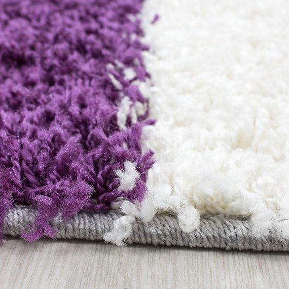 Adana Carpets Hoogpolige loper - Cube Paars