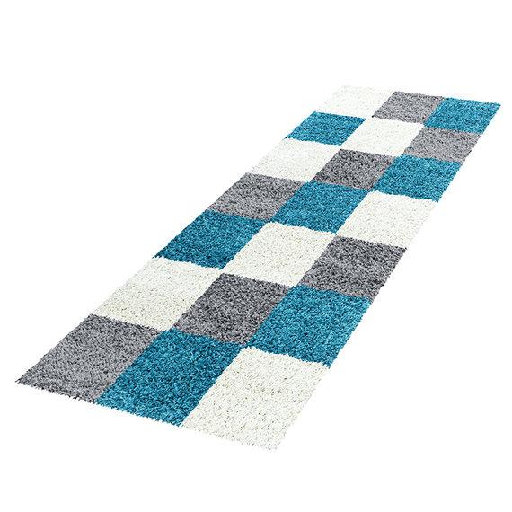 Adana Carpets Hoogpolige loper - Cube Turquoise