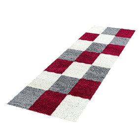 Adana Carpets Hoogpolige loper - Cube Rood