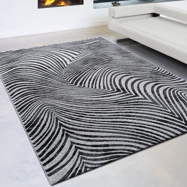 Modern vloerkleed - Alvie Zwart 7696