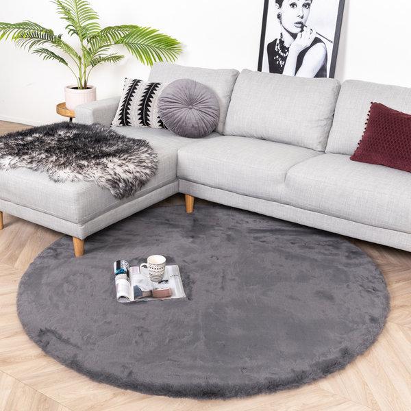 Rond Hoogpolig vloerkleed - Comfy Antraciet