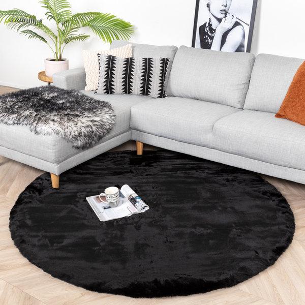Rond Hoogpolig vloerkleed - Comfy Zwart