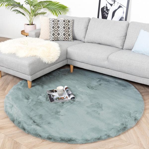 Rond Hoogpolig vloerkleed - Comfy Blauw/Groen