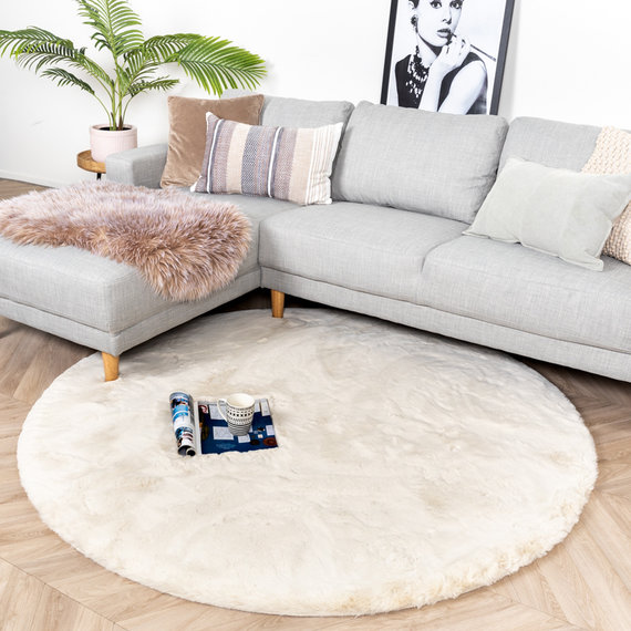 FRAAI Rond Hoogpolig vloerkleed - Comfy Creme