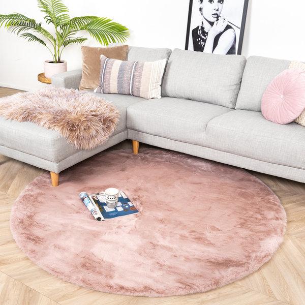 Rond Hoogpolig vloerkleed - Comfy Roze