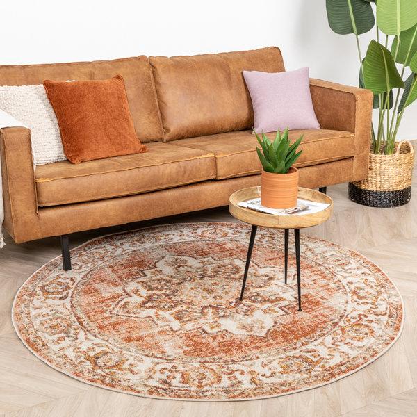 Rond vintage vloerkleed – Spring Medaillon Terra Creme
