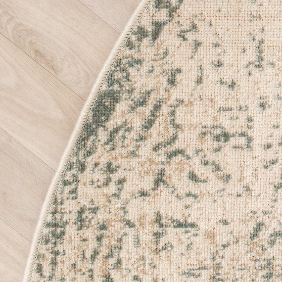 FRAAI Rond vintage vloerkleed – Spring Ethnic Creme Groen