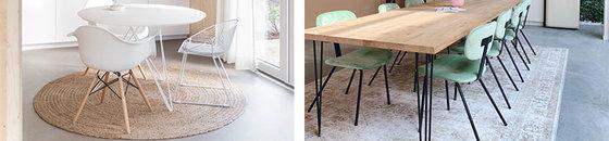 Welk vloerkleed is geschikt voor onder de eettafel?