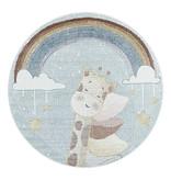 Adana Carpets Rond kindervloerkleed - Lucy Giraffe Blauw