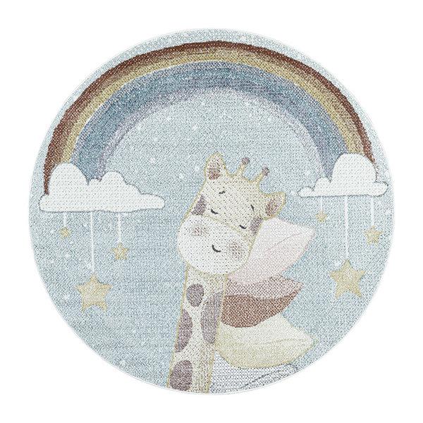 Rond kindervloerkleed - Lucy Giraffe Blauw