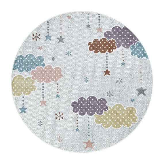 Adana Carpets Rond kindervloerkleed - Lucy Wolken Wit