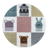 Adana Carpets Rond kindervloerkleed - Fleurtje Dieren Multicolor