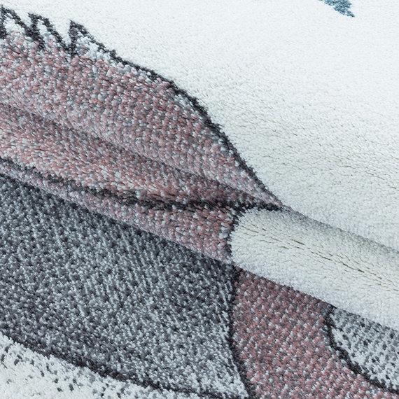 Adana Carpets Rond kindervloerkleed - Fleurtje Dino Roze
