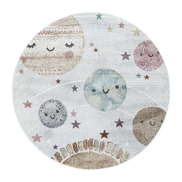Rond kindervloerkleed - Fleurtje Planeten Wit