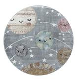 Adana Carpets Rond kindervloerkleed - Fleurtje Planeten Grijs