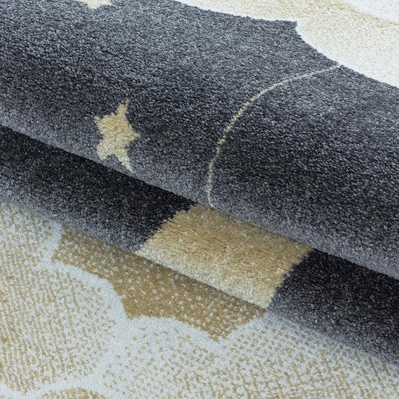 Adana Carpets Rond kindervloerkleed - Fleurtje Maan Geel