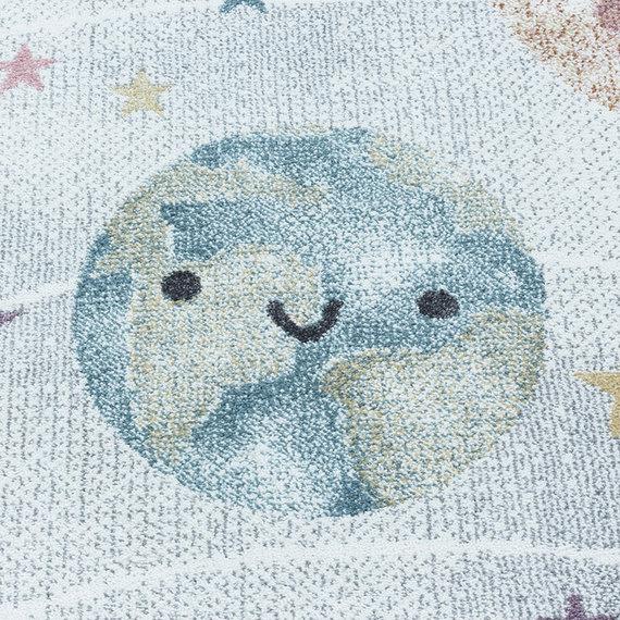 Adana Carpets Rond kindervloerkleed - Fleurtje Planeten Wit